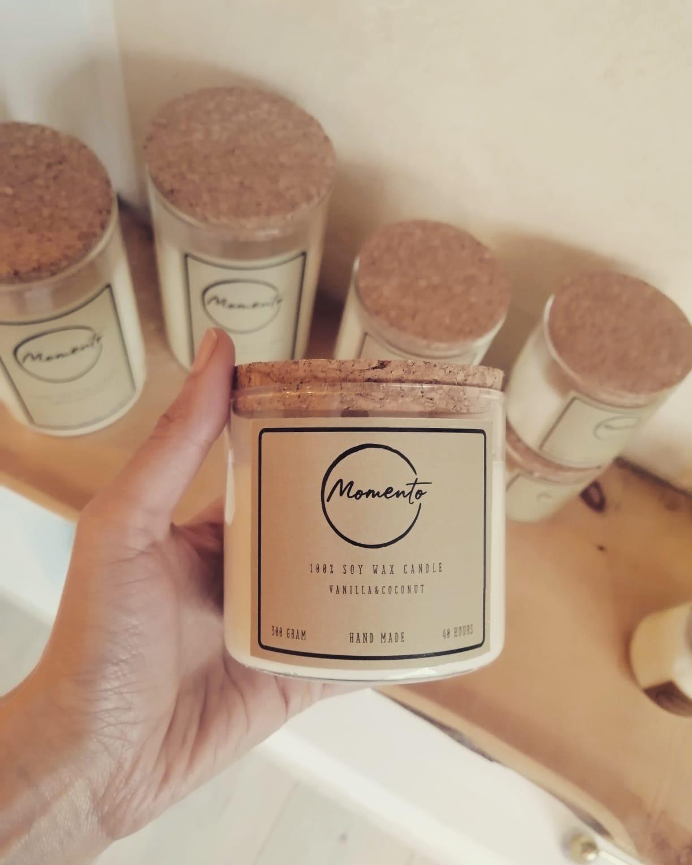 candele in cera di soia naturale